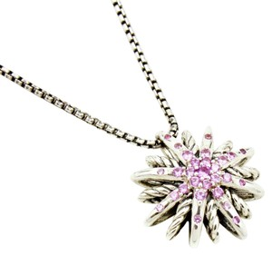 David Yurman Pink Sapphire Starburst Necklace in Sterling Silver