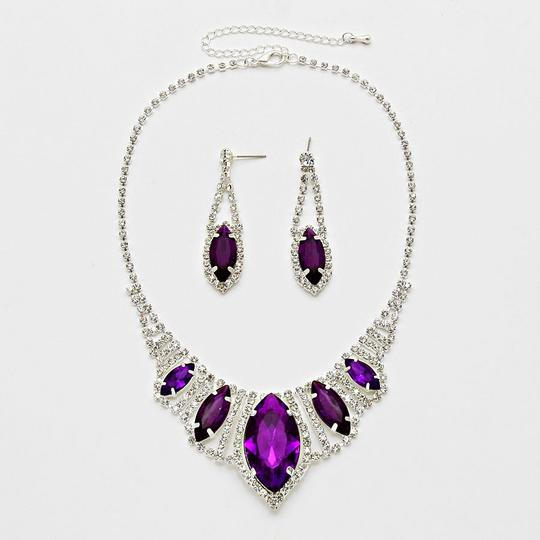 Other Silver Marquise Purple Eye Crystal Evening Bridal Prom Bib Necklace and Earring Set