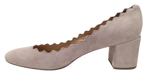 Chloé Lauren Scalloped Elephant Grey Pumps