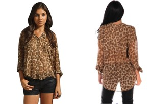 Free People Button Down Shirt Leopard