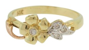 Other Vintage Flower and Diamond Ring-14k Yellow Gold