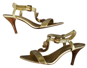 Coach Strappy Metallic Heels Gold Formal