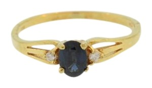Other Vintage Oval Cut Sapphire Ring- 14k Yellow Gold