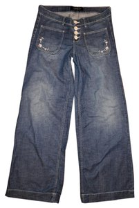 London Jean Ivory Buttons Embroidered Trouser/Wide Leg Jeans-Light Wash