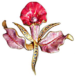 Joan Rivers RETIRED ENAMELROSE/PINK ORCHID ON GOLDPLATE- SWAROVSKI CRYSTALS