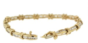 Other Antique Diamond 1.0 cttw X Link Tennis Bracelet- 14k Yellow Gold
