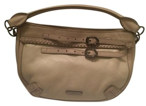 Burberry Gucci Leather Cream Metallic Baguette