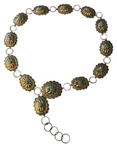 Gilbert Ortega Sterling silver Navajo concha belt with turquoise stones