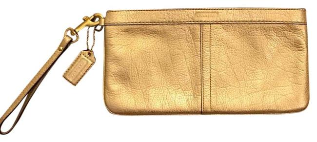 Coach Gold Leather Clutch Coach Gold Leather Clutch Image 1