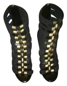 Balmain x H&M Leather Braided Black & Gold Sandals