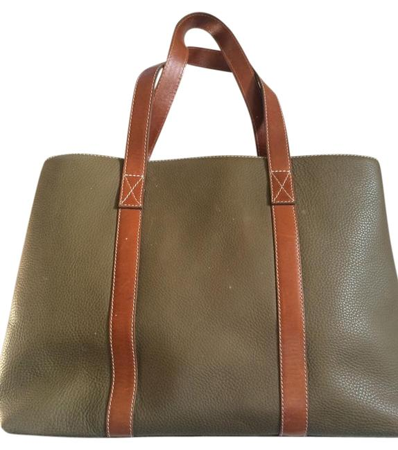 Argentine Olive Green Leather Tote Argentine Olive Green Leather Tote Image 1