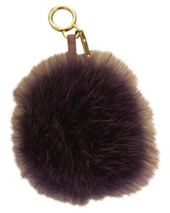 Fendi Fendi Purple Fox Fur Pom Pom Keychain