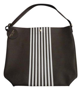 Henri Bendel Chic Classic Hobo Tote in Brown with White Stripes