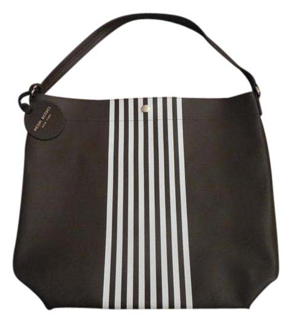 Item - Brown with White Stripes Faux Leather Tote