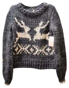 Free People Christmas Deer Cute Sweater
