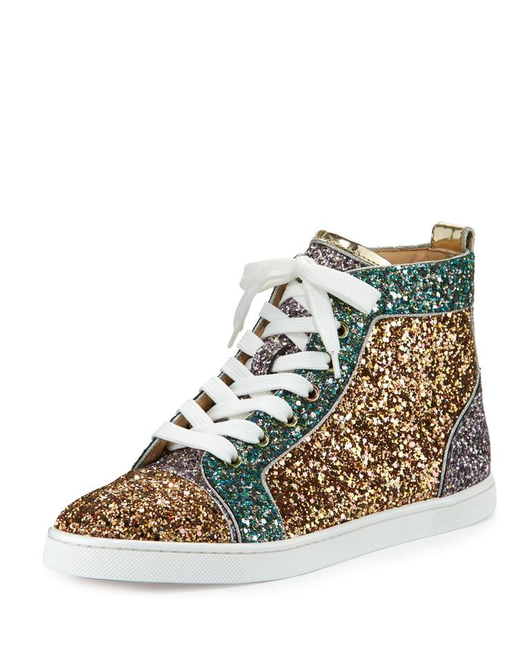 1f35815e87a5 Christian Louboutin High-top Sneaker Colorblock Glittered Made In Italy  Lace-up Front Multi