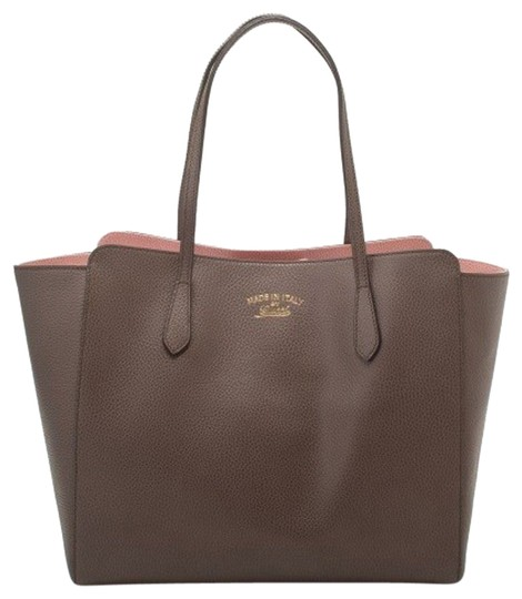 1252fb0d7d21b7 Gucci Pebbled Calfskin Swing Shoulder W Soft 354397 Tote in Taupe Brown  Pink Image 0 ...