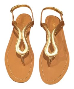 Prada New Leather Gold Metallic Gold Sandals