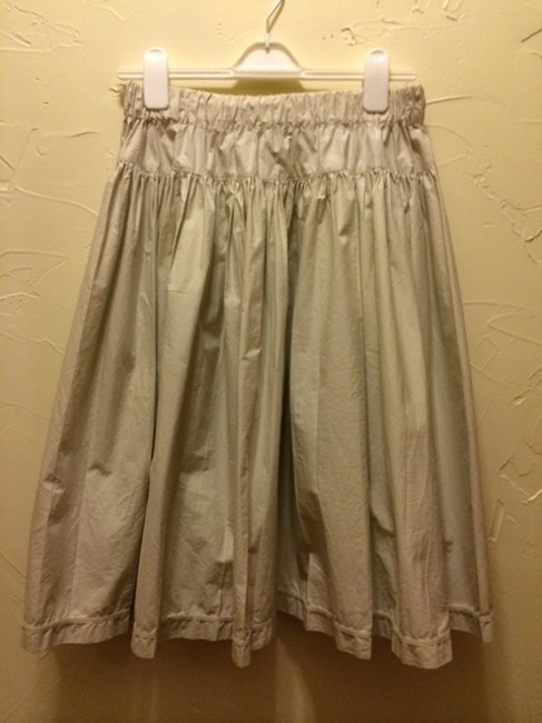Prada Big Pockets Full Pleats Fun Elastic Waist Transitional Skirt cream