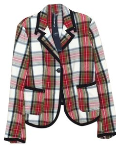 High by Claire Campbell Couture Contemporary Classic Plaid Blazer
