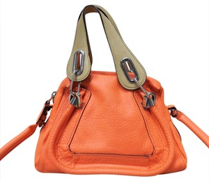 Chloé Chloe Paraty Leather Satchel in orange