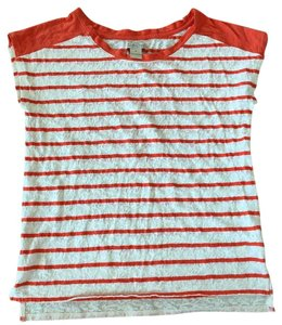 Lucky Brand Orange Shirt Lace Striped Top