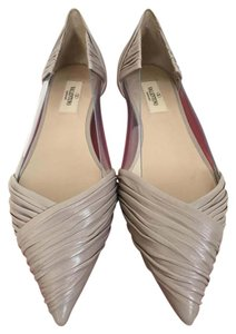 Valentino Draped Leather Pointed Toe Nude Flats