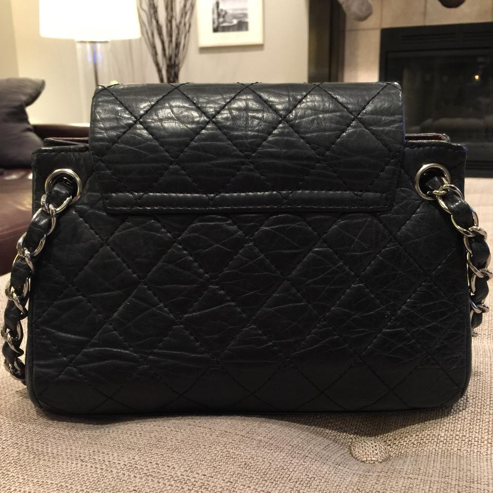 906add914c05 Chanel Double Flap Sac rabat Quilted Accordion Tote Aged Calfskin  Distressed Handbag Shw Classic Black Leather Shoulder Bag - Tradesy