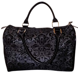 Classic Neutral Print Velvet Satchel in Black