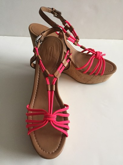 Coach Size 9.5 Brown, Pink Wedges