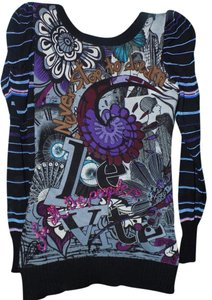 Desigual Applique Embellished Embroidered Bold Print Top Multi-Colored