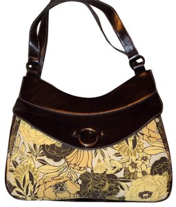 Nine & Co. Retro Floral Structured Classic Leather Shoulder Bag