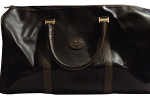 Valentino V Design Mint Vintage Great Overnight Size Perfect For Travel Tote in 'VV' logo in shades of brown