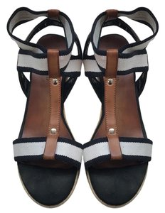 Tommy Hilfiger tan, navy blue, and white Wedges