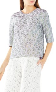 BCBGMAXAZRIA Irridescent Jacquard Textured Metallic Lined Top Bluebell/Green