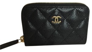 Chanel Chanel Zip Around Small Wallet Card Holder O' Coin Purse In Black Caviar Gold Hardware