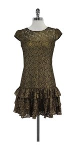 Cynthia Steffe short dress Gold & Black Lace Cap Sleeve on Tradesy