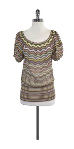 Missoni Multi Color Short Sleeve Knit Knit Top