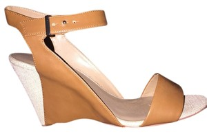 Ann Taylor Two-tone Leather Woven Wedge Beige, Tan Wedges