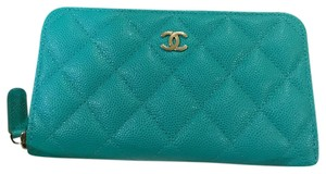 Chanel 17C Compact Zippy Wallet Turquoise Caviar Silver Hardware