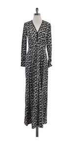 Yigal Azrouël Black & White Deep V Palm Tree Gown Gown Top