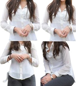 Wet Seal Button Down Shirt Pearl