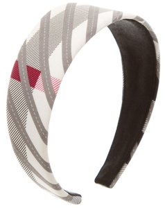 Burberry Ivory, grey Burberry plaid print headband