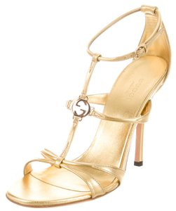 Gucci Ankle Strap Gg Gold Sandals