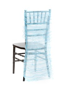 100 New Aqua Blue Ruffled Chiavari Chair Back Covers