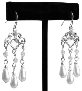 """Independent Clothing Co. NEW * 2"""" SILVER, DIAMOND RHINESTONE AND PEARL TEARDROP CHANDELIERS"""