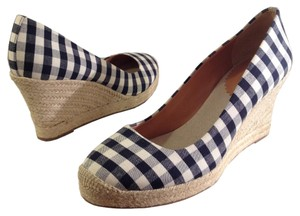 J.Crew #gingham #espadrille #wedge #check #canvas Navy White Wedges
