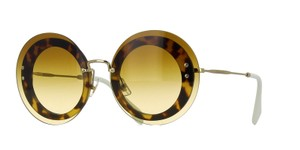 Miu Miu MIU MIU Reveal Brown Acetate Round Retro Sunglasses