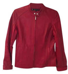 Anne Klein Figure Flattering Like New Soft Leather Red Leather Jacket