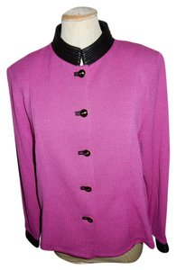 St. John St. John Pink Santana Knit Jacket with Black Leather Trim Jacket